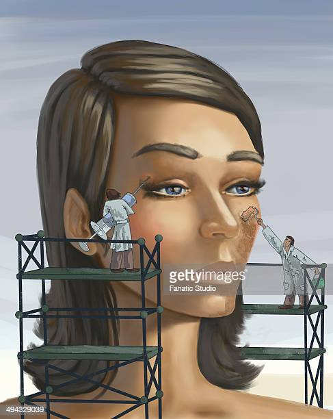 illustrations, cliparts, dessins animés et icônes de surgeons working on aging woman's face with syringe and paint while standing on scaffold depicting plastic surgery - chirurgie esthetique