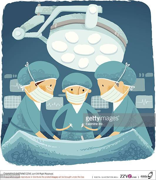 Surgical team performing surgery in hospital