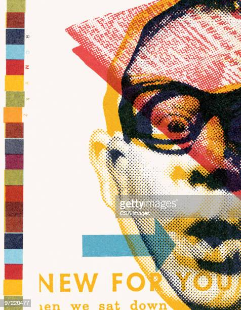 surprised man with glasses - human eye stock illustrations