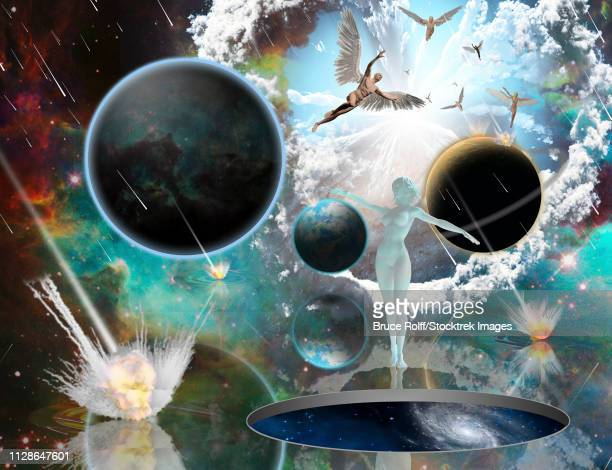 surreal composition. armageddon. asteroids destroy planets. angels fly in the sky. woman's statue from white pure marble. opened wormhole to another dimension is salvation. 3d rendering - meteor shower stock illustrations