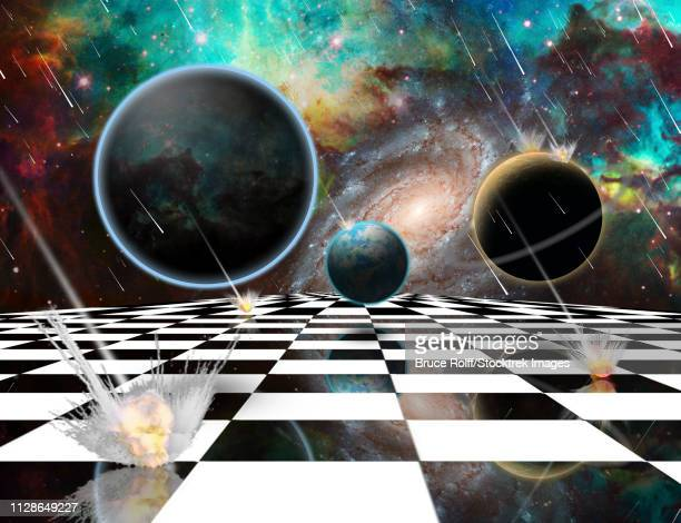 surreal composition. armageddon. asteroids destroy planets. chessboard in the universe. 3d rendering - meteor shower stock illustrations