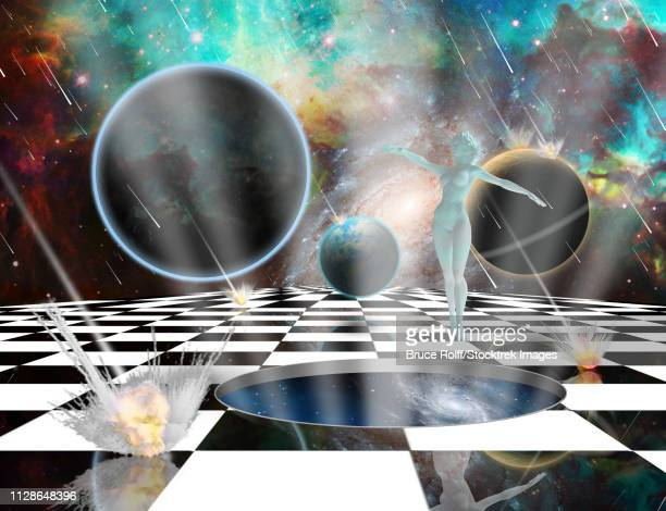 surreal composition. armageddon. asteroids destroy planets. woman's statue from white pure marble. chessboard in the universe. opened wormhole to another dimension - salvation. 3d rendering - out of context点のイラスト素材/クリップアート素材/マンガ素材/アイコン素材
