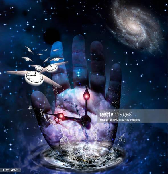 ilustraciones, imágenes clip art, dibujos animados e iconos de stock de surreal composition. hands of time - galaxiaespiral