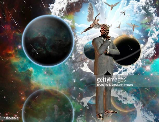 ilustraciones, imágenes clip art, dibujos animados e iconos de stock de surreal composition. thinking businessman. angels comes from another dimensions. 3d rendering - tablero de ajedrez