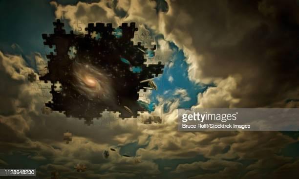 ilustraciones, imágenes clip art, dibujos animados e iconos de stock de surreal digital art. clouds are falling apart on a pieces of puzzle. galaxy in starry space. - galaxiaespiral