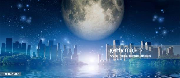 surreal digital art. future city surrounded by green trees in water world. giant moon in the sky. - ancient civilization stock illustrations