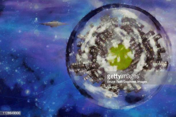 Surreal digital art. Planet with skyscrapers inside the bubble. Flying saucer in the space.