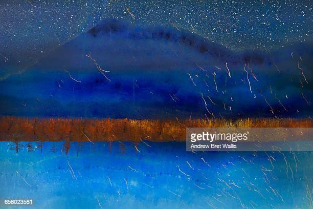 Surreal dreamlike mountain landscape
