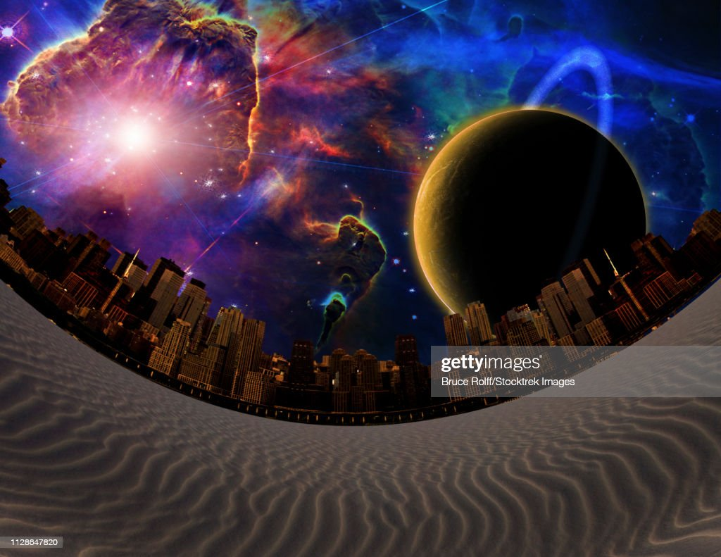 Surreal landscape. Desert City. Big planet in vivid galaxy : Illustrationer