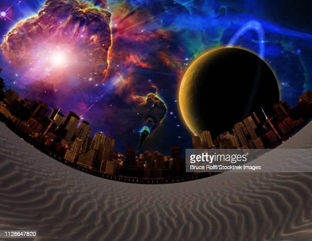 Surreal landscape. Desert City. Big planet in vivid galaxy