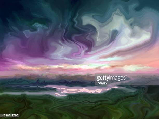 流動的なアートスタイルのシュールな風景 - 水の無駄遣い点のイラスト素材/クリップアート素材/マンガ素材/アイコン素材