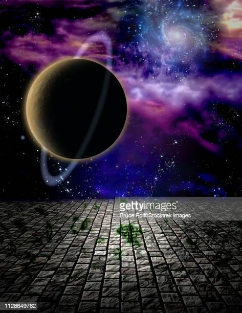 ilustraciones, imágenes clip art, dibujos animados e iconos de stock de surreal painting. big planet above stone field. - galaxiaespiral