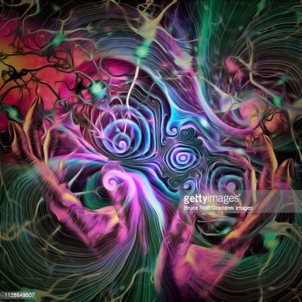 ilustraciones, imágenes clip art, dibujos animados e iconos de stock de surreal painting. hands of god and neurons. - cerebral nuclei