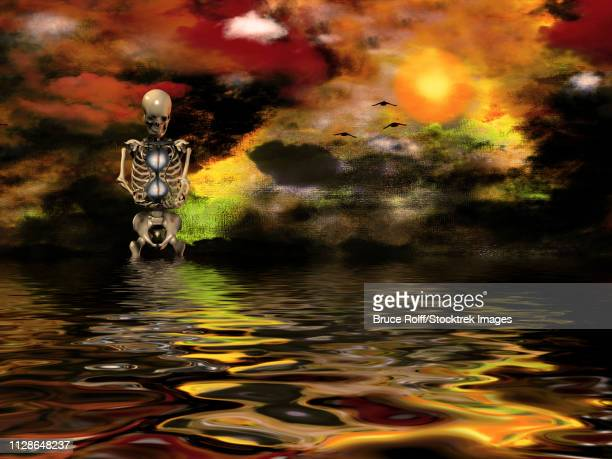 surreal painting. vivid sunset over water. skeleton. - anatomical model stock illustrations, clip art, cartoons, & icons