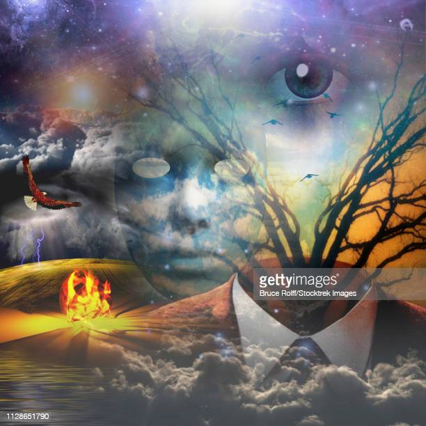 Surrealism. God's eye, eagle, fire and clouds. Suit and branches of a tree.