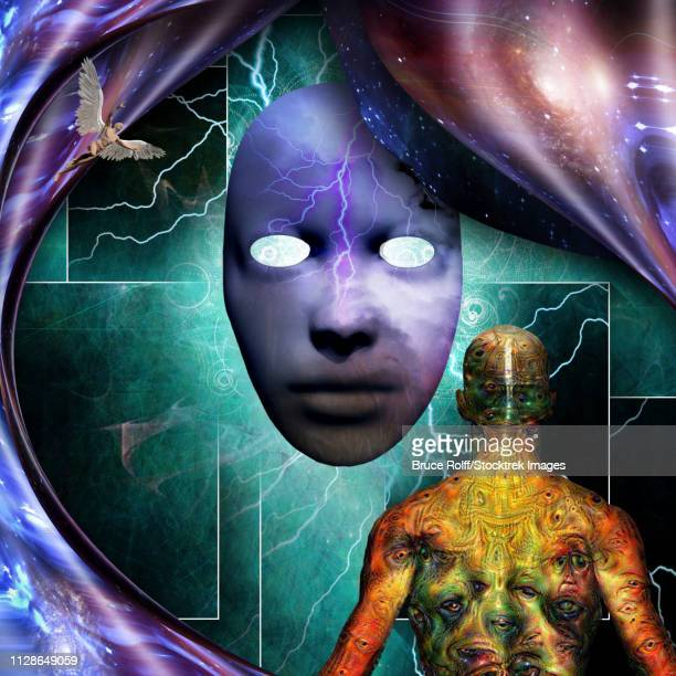 surrealism. mystic mask with lightnings. man with weird demonic eyes on skin. warped space. - human back stock illustrations, clip art, cartoons, & icons