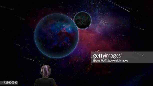 Surrealism. Woman looking at planets and meteors or comets. 3D rendering