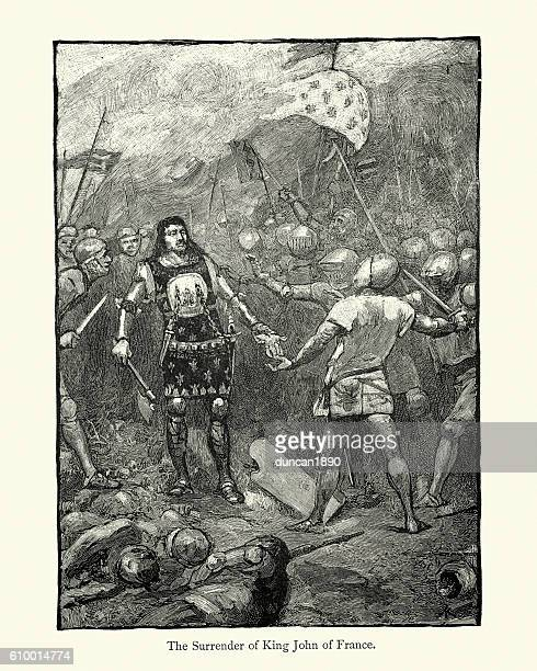 Surrender of King John of France at Battle of Poitiers
