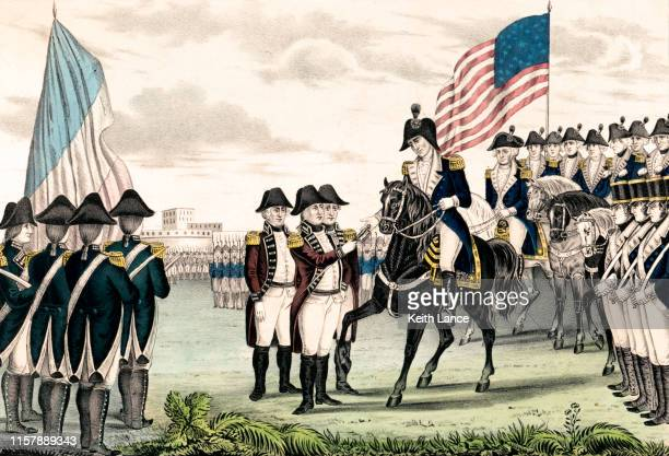 surrender of lord cornwallis at yorktown, 1781 - history stock illustrations