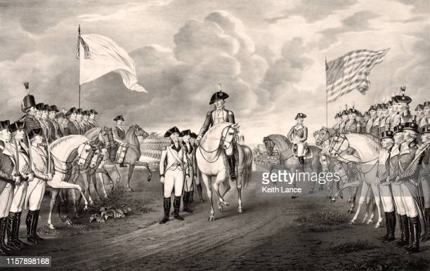 surrender of lord cornwallis at yorktown, 1781 - alexander hamilton stock illustrations