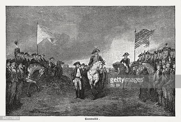 surrender of lord cornwallis at yorktown, 1781, published in 1884 - battlefield stock illustrations, clip art, cartoons, & icons