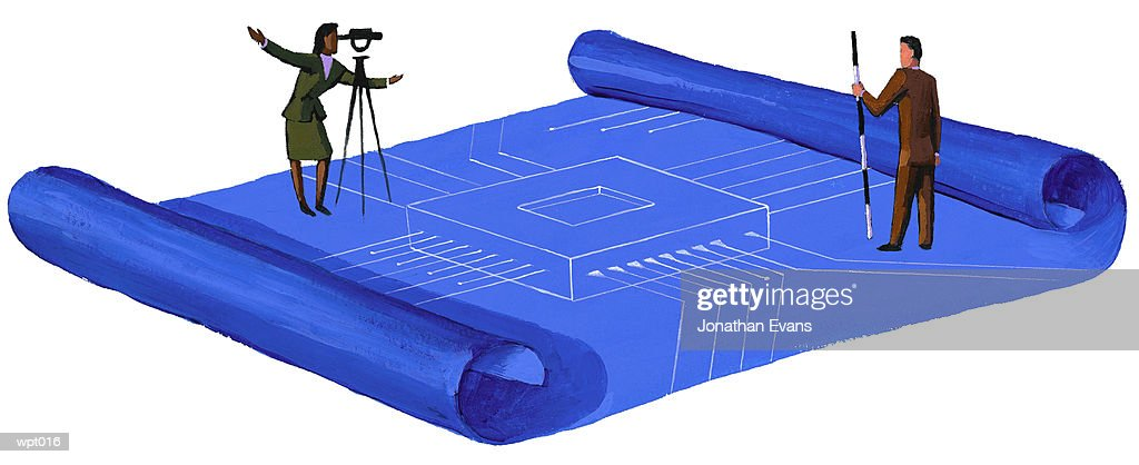 Surveyors with Blueprint : Stock Illustration