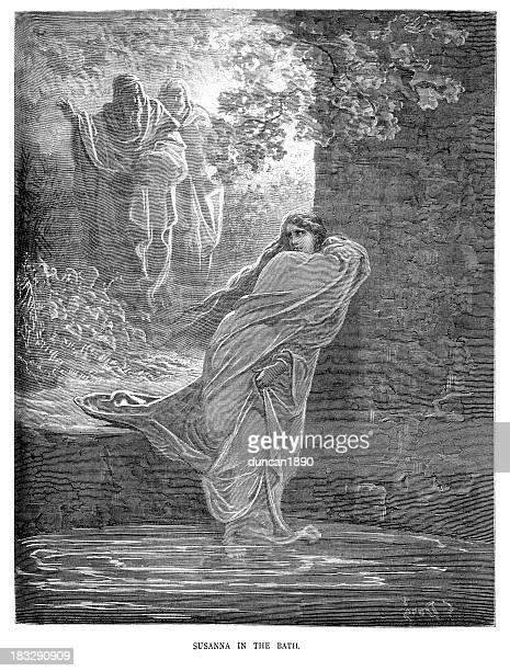 susanna in the bath - voyeurism stock illustrations, clip art, cartoons, & icons