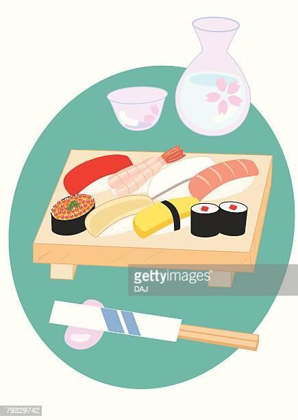 Sushi, close-up, illustration