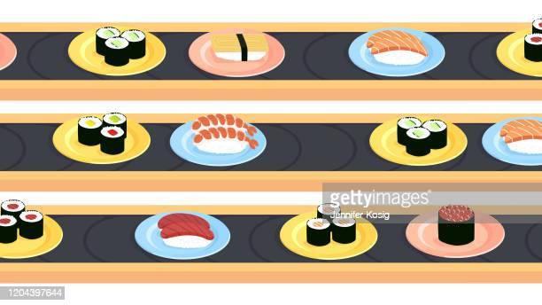 様々な種類の寿司を持つ寿司コンベヤーベルト - 寿司点のイラスト素材/クリップアート素材/マンガ素材/アイコン素材