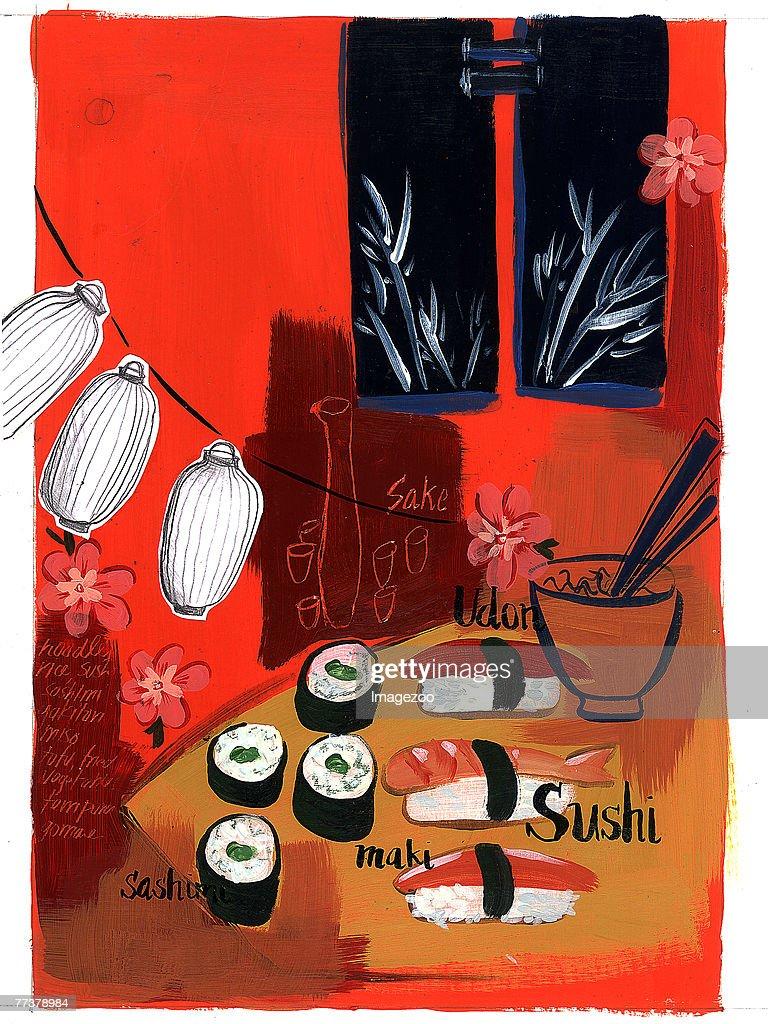 sushi lanterns : Illustration