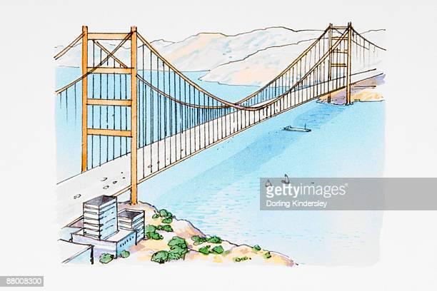 ilustraciones, imágenes clip art, dibujos animados e iconos de stock de suspension bridge across water - puente colgante