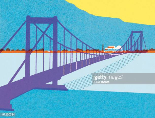 suspension bridge - overpass road stock illustrations