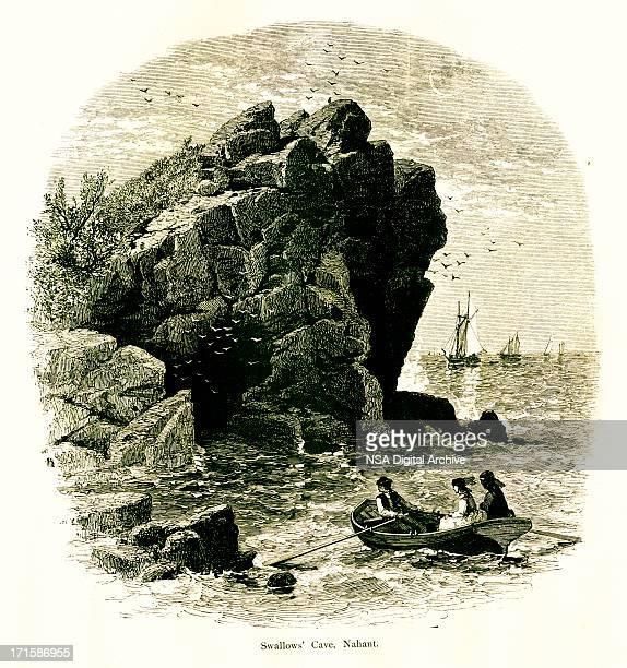 swallow cave, nahant, massachusetts - village stock illustrations