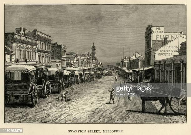 swanston street, melbourne, australia, 19th century - melbourne stock illustrations