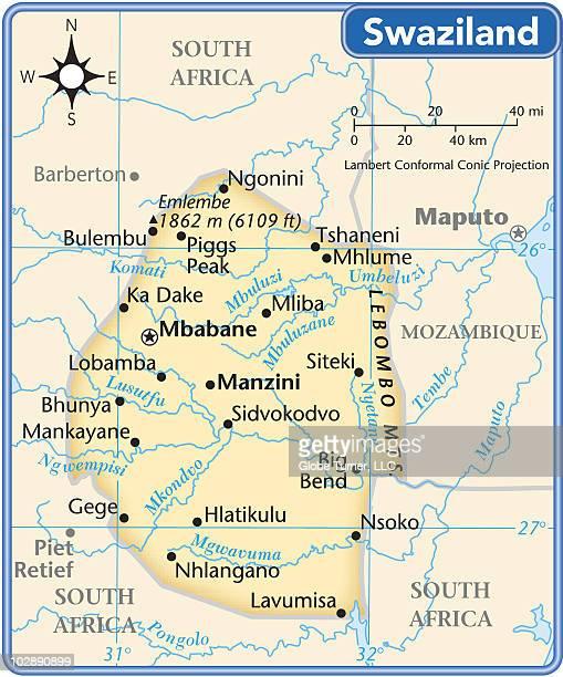 swaziland country map - eswatini stock illustrations, clip art, cartoons, & icons