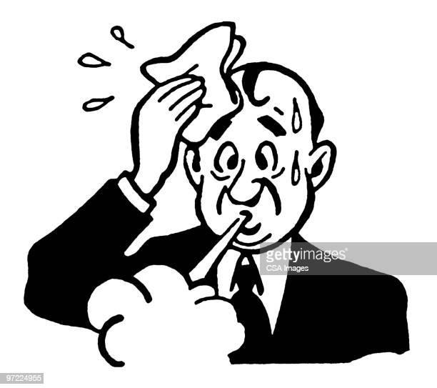 ilustraciones, imágenes clip art, dibujos animados e iconos de stock de sweaty man - relief emotion