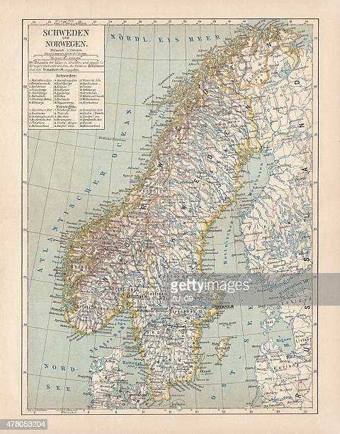 Sweden and Norway, lithograph, published in 1878