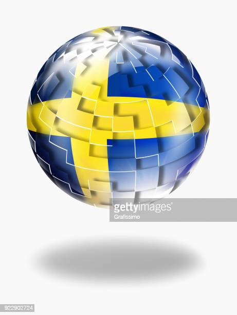 Sweden button sphere with swedish flag isolated on white