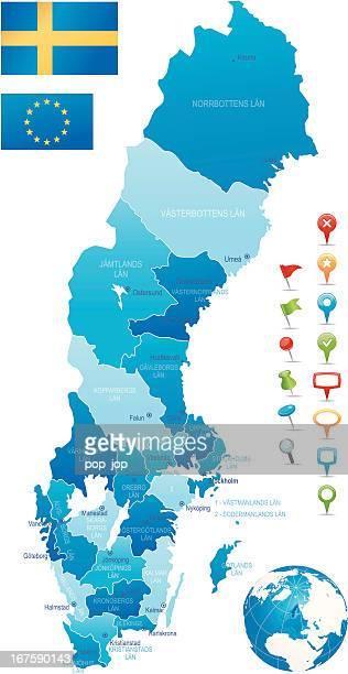 Sweden - hughly detailed map