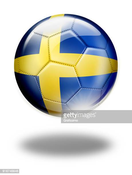 Sweden soccer ball with swedish flag isolated on white
