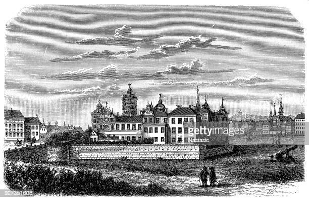 sweden, stockholm, royal castle in 17th century, exterior view - eastern europe stock illustrations, clip art, cartoons, & icons