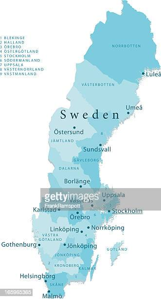 Sweden Vector Map Regions Isolated