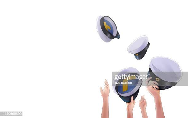 swedish graduation hats being thrown up in the air - sweden stock illustrations