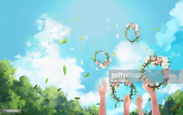swedish midsummer wreaths in the air - summer solstice stock illustrations