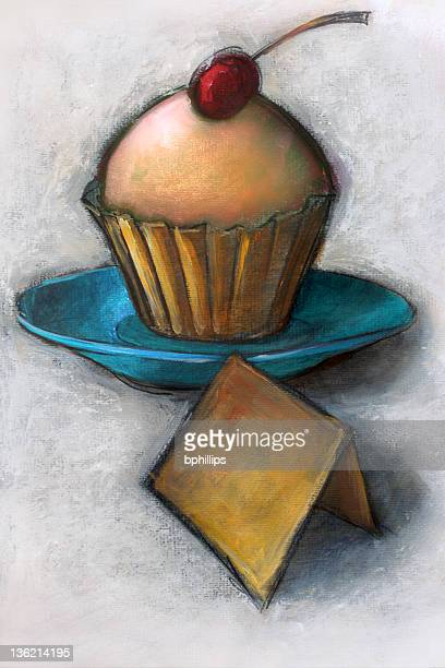 sweet little cupcake - grunge image technique stock illustrations