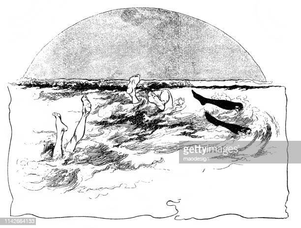 swimming in cold water - 1896 - 1896 stock illustrations, clip art, cartoons, & icons