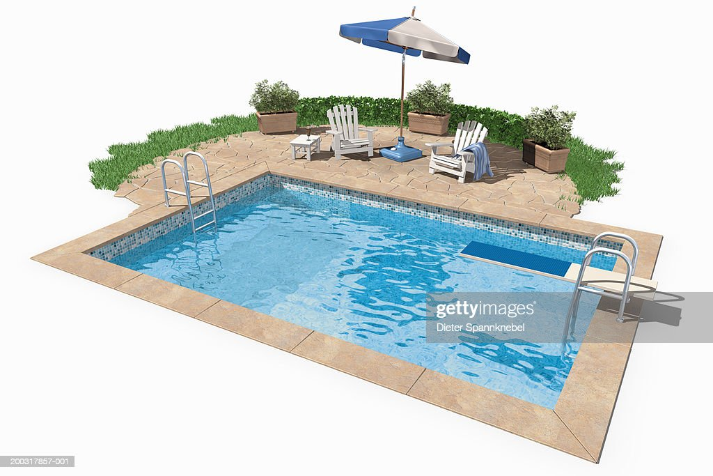 Swimming Pool With Diving Board Sunshade And Deckchairs Stock Illustration Getty Images