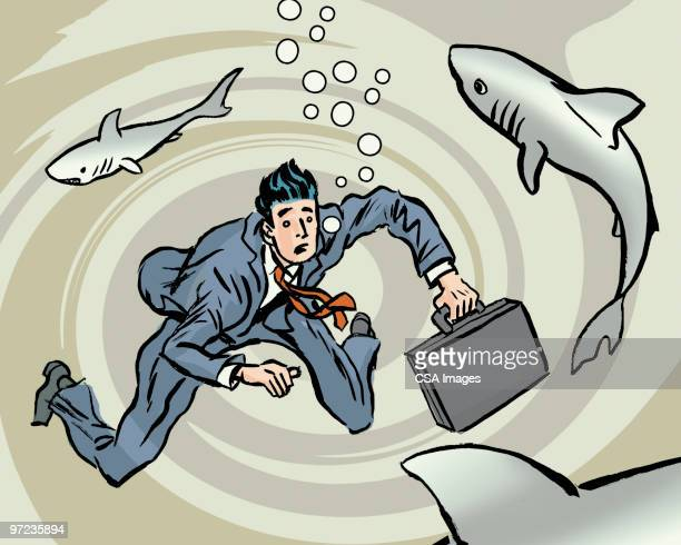 swimming with the sharks - drowning stock illustrations, clip art, cartoons, & icons