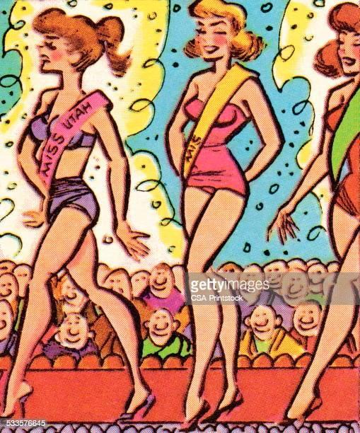 ilustraciones, imágenes clip art, dibujos animados e iconos de stock de concurso de bañadores - reina de belleza
