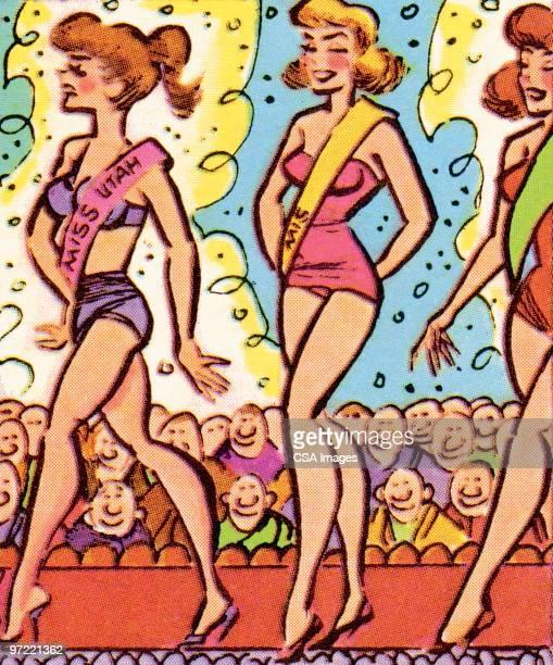 ilustraciones, imágenes clip art, dibujos animados e iconos de stock de swimsuit competition - reina de belleza